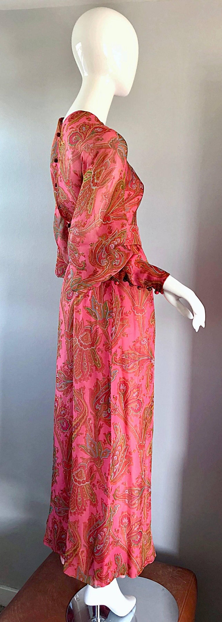 Adele Simpson 1970s Pink Silk Chiffon Paisley Bishop Sleeve Vintage Maxi Dress For Sale 3