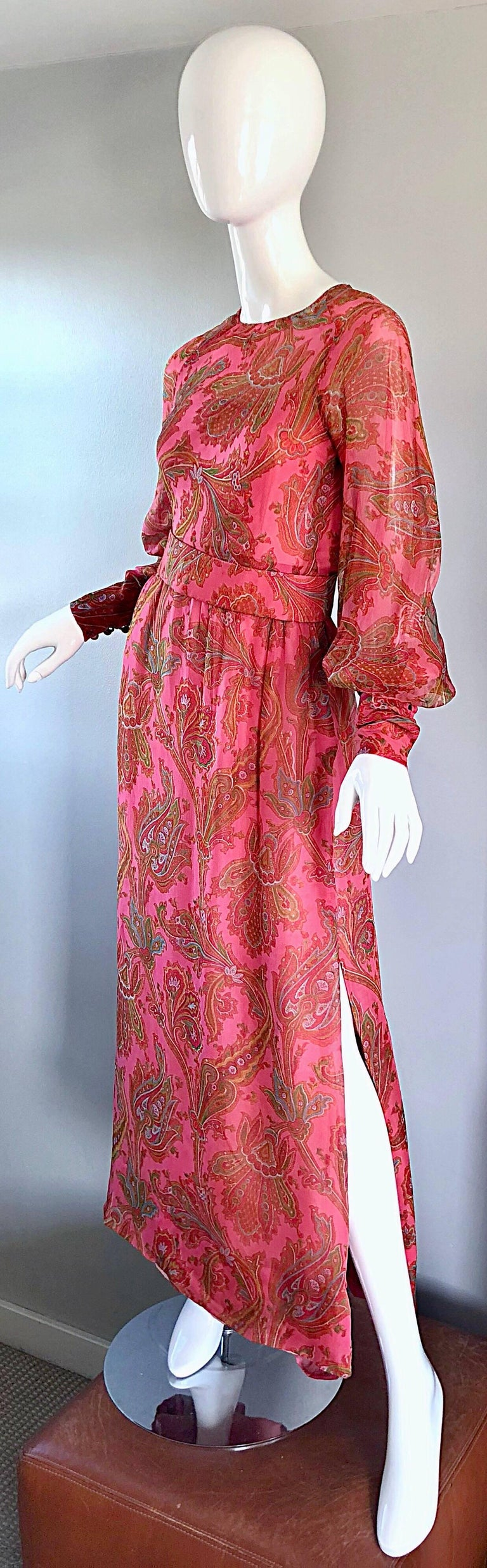 Adele Simpson 1970s Pink Silk Chiffon Paisley Bishop Sleeve Vintage Maxi Dress For Sale 4