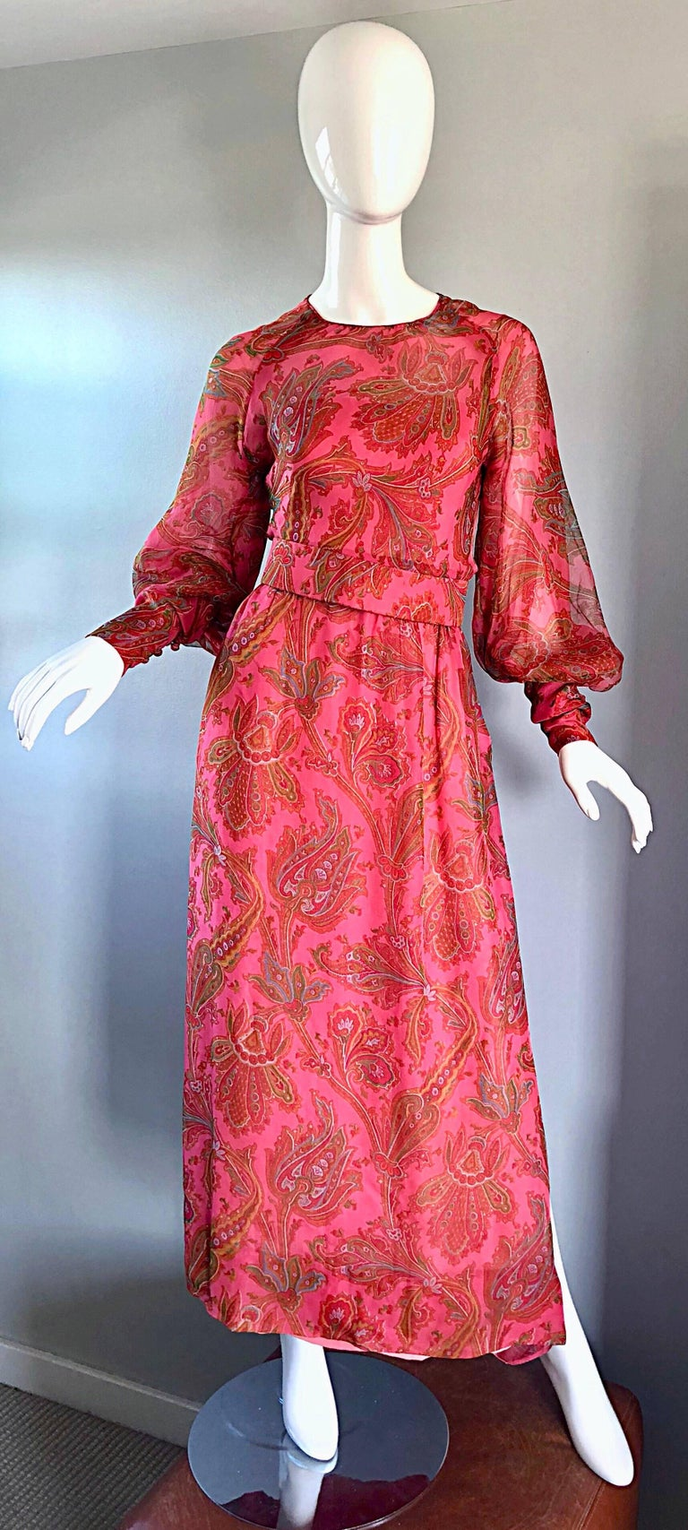 Adele Simpson 1970s Pink Silk Chiffon Paisley Bishop Sleeve Vintage Maxi Dress For Sale 5