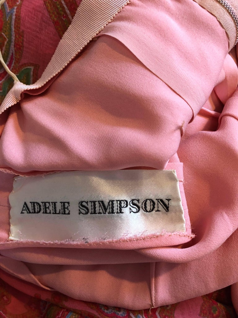 Adele Simpson 1970s Pink Silk Chiffon Paisley Bishop Sleeve Vintage Maxi Dress For Sale 6
