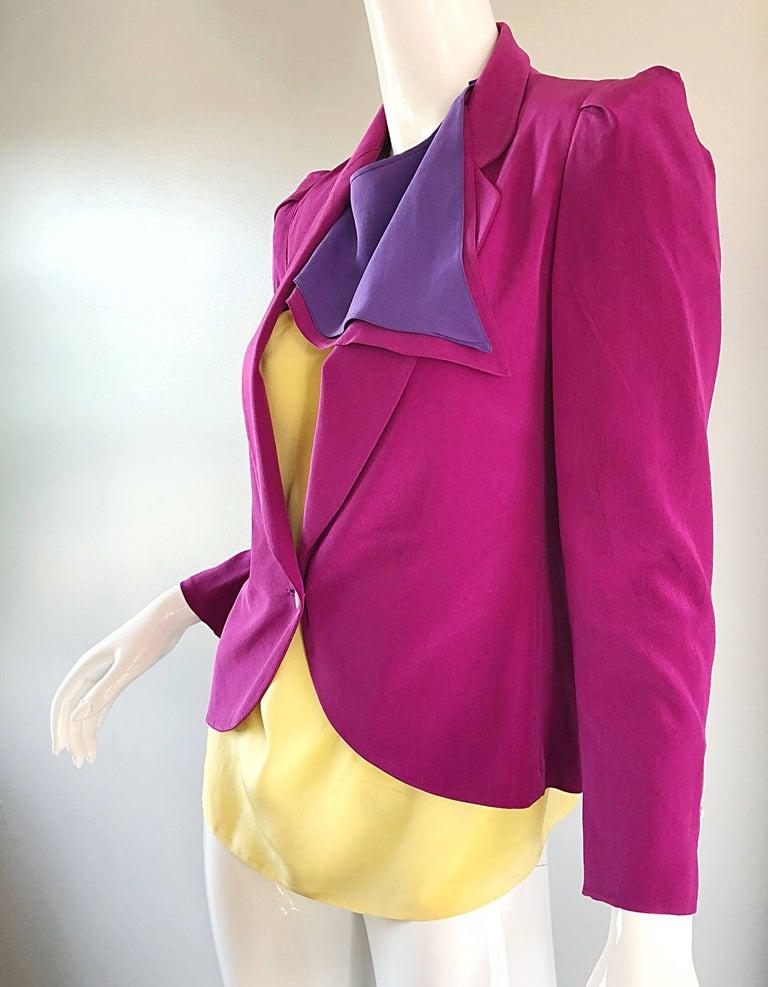 Pink Salvatore Ferragomo Vintage Fuchsia + Yellow Colorblock Blouse + Blazer Jacket For Sale