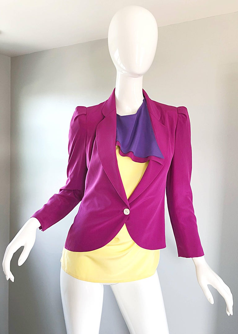 Chic vintage SALVATORE FERRAGOMO fuchsia pink, purple and pale yellow silk tunic blouse and fitted cropped blazer jacket! Tunic features an avant garde flare, with an attached scarf. Button at top back neck. Tailored blazer is in a vibrant fuchsia