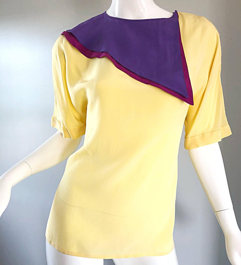 Women's Salvatore Ferragomo Vintage Fuchsia + Yellow Colorblock Blouse + Blazer Jacket For Sale