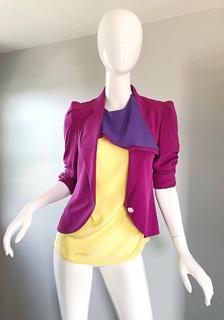 Salvatore Ferragomo Vintage Fuchsia + Yellow Colorblock Blouse + Blazer Jacket For Sale 1