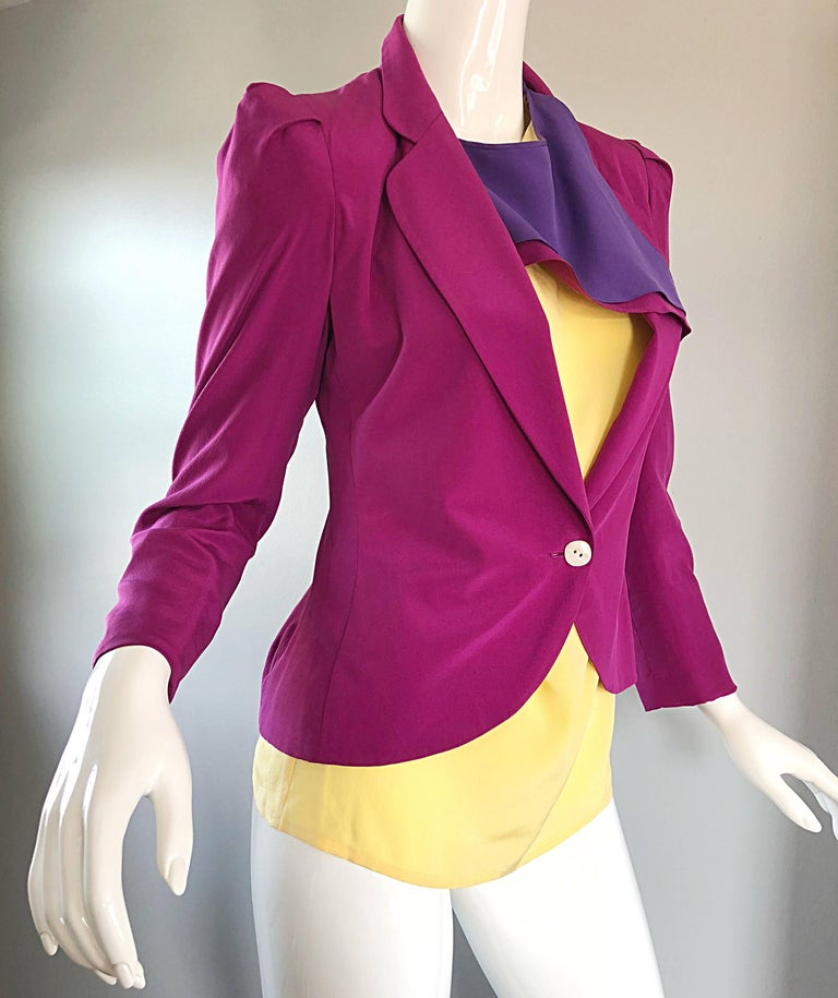 Salvatore Ferragomo Vintage Fuchsia + Yellow Colorblock Blouse + Blazer Jacket For Sale 2