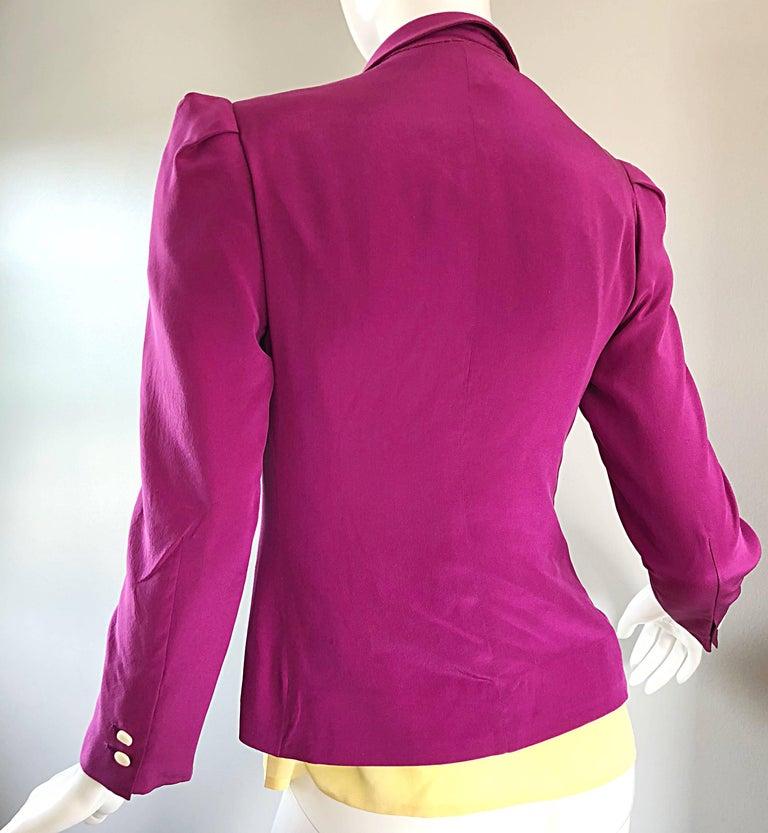 Salvatore Ferragomo Vintage Fuchsia + Yellow Colorblock Blouse + Blazer Jacket For Sale 3
