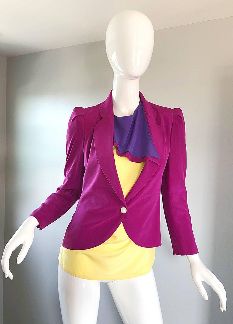 Salvatore Ferragomo Vintage Fuchsia + Yellow Colorblock Blouse + Blazer Jacket For Sale 4