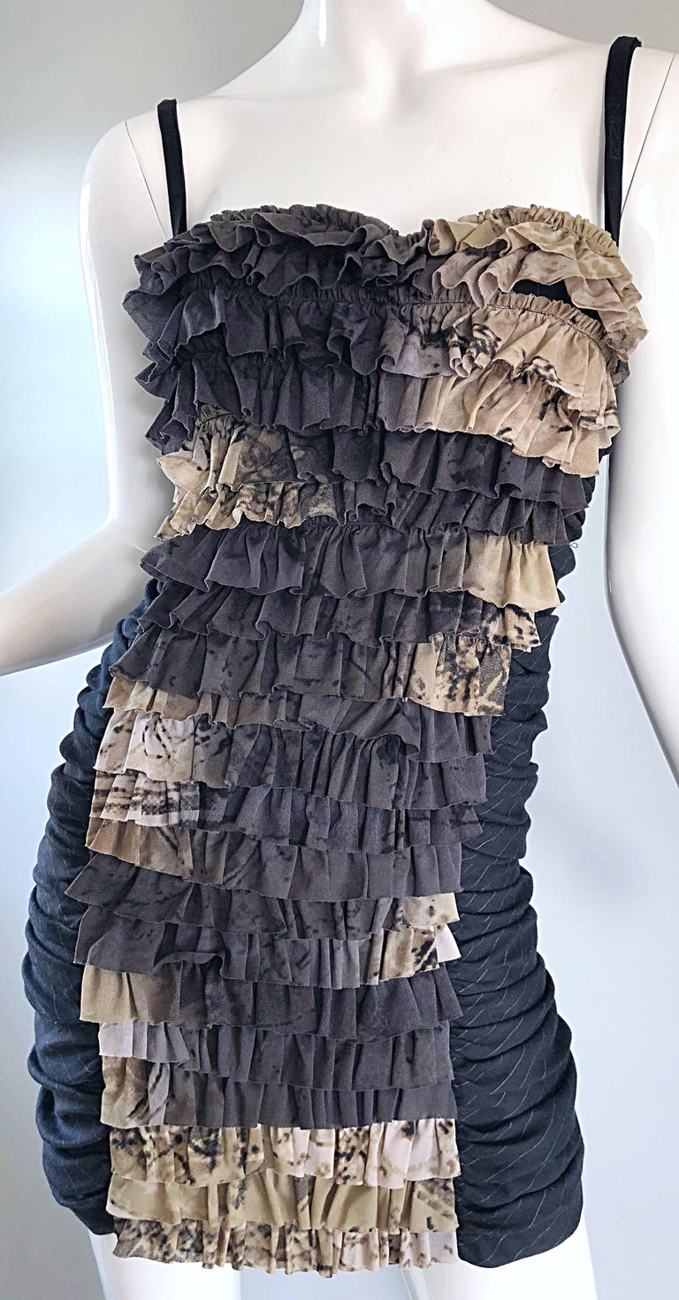 Marie Grazia Panizzi Sexy Avant Garde Convertible Strap Pinstripe Mini Dress For Sale At 1stdibs