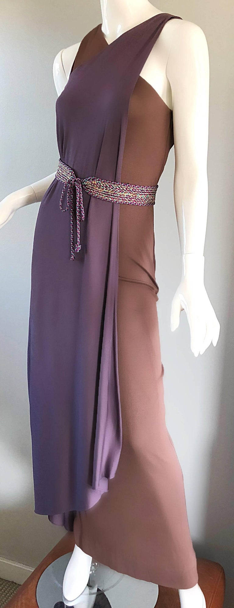 Vintage Bill Blass 1970s Purple + Brown Grecian Inspired Silk Jersey Belted Gown In Excellent Condition For Sale In San Francisco, CA