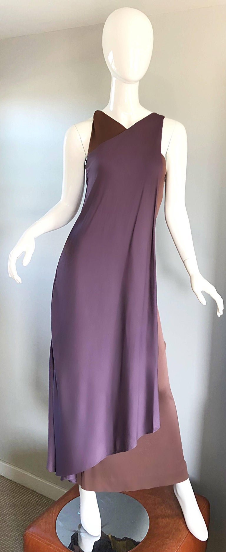 Women's Vintage Bill Blass 1970s Purple + Brown Grecian Inspired Silk Jersey Belted Gown For Sale