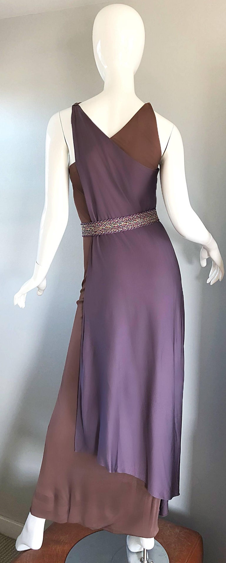 Vintage Bill Blass 1970s Purple + Brown Grecian Inspired Silk Jersey Belted Gown For Sale 1