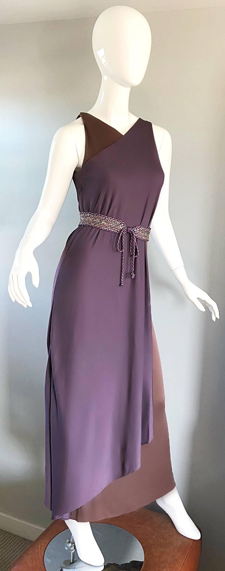 Vintage Bill Blass 1970s Purple + Brown Grecian Inspired Silk Jersey Belted Gown For Sale 2