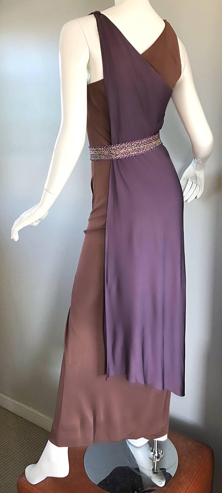 Vintage Bill Blass 1970s Purple + Brown Grecian Inspired Silk Jersey Belted Gown For Sale 3
