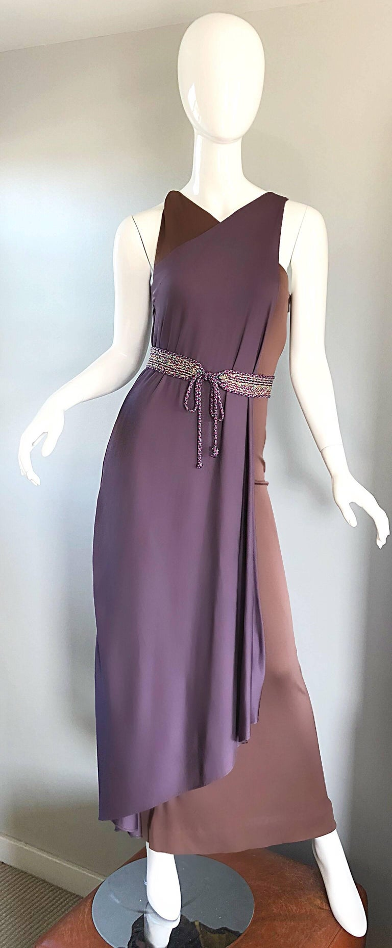 Vintage Bill Blass 1970s Purple + Brown Grecian Inspired Silk Jersey Belted Gown For Sale 4
