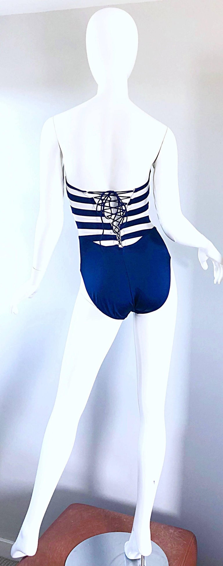 Purple Bill Blass Navy Blue and White Striped Cut - Out One Piece Swimsuit, 1990s  For Sale