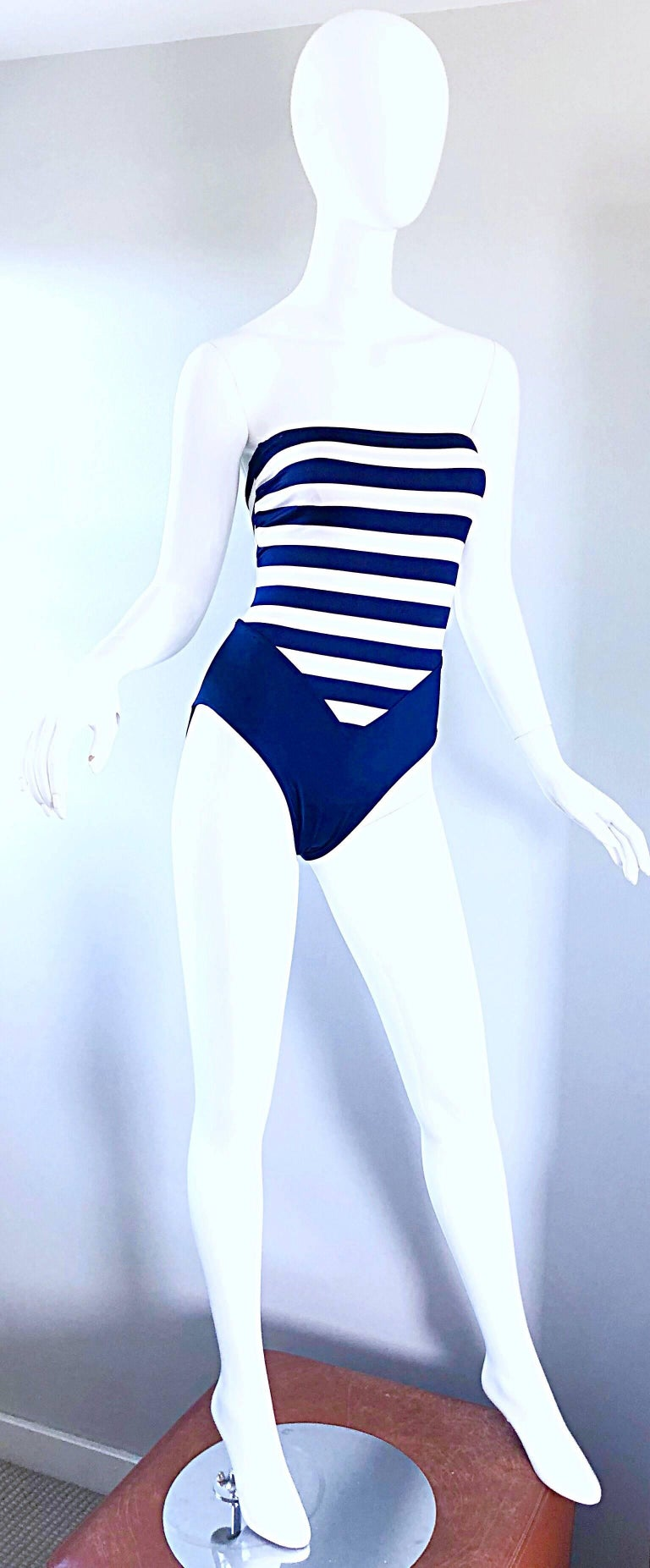 Women's Bill Blass Navy Blue and White Striped Cut - Out One Piece Swimsuit, 1990s  For Sale