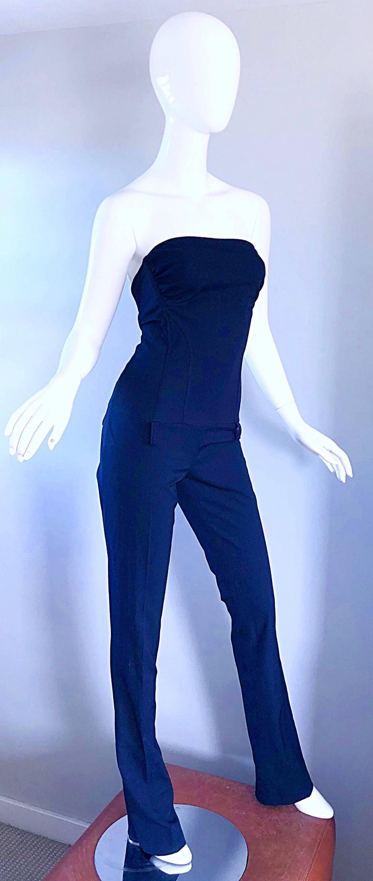 Elisabetta Franchi Navy Blue Italian Strapless Bootcut Tailored Wool Jumpsuit In Excellent Condition For Sale In Chicago, IL