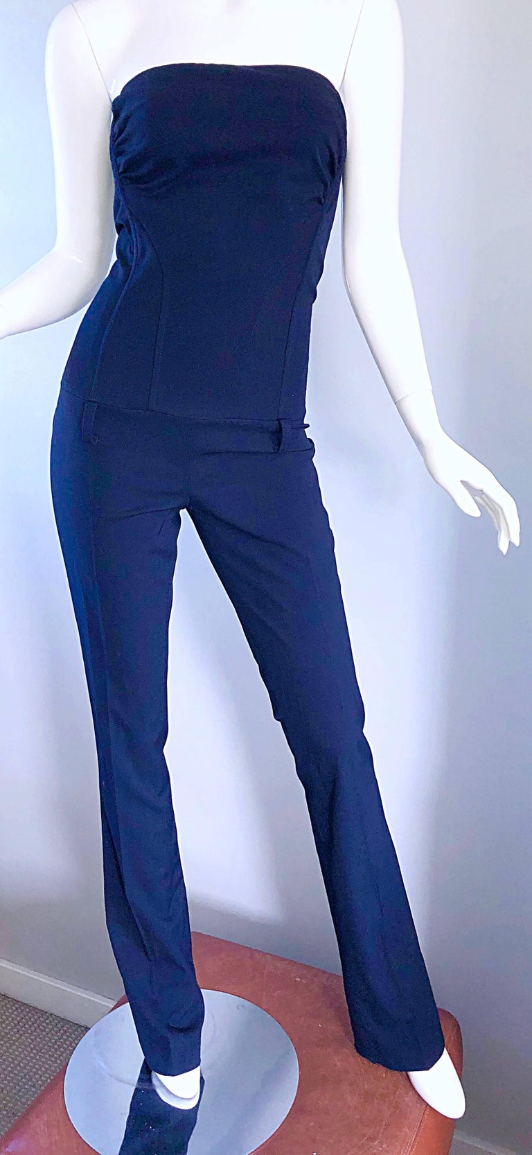 Women's Elisabetta Franchi Navy Blue Italian Strapless Bootcut Tailored Wool Jumpsuit For Sale