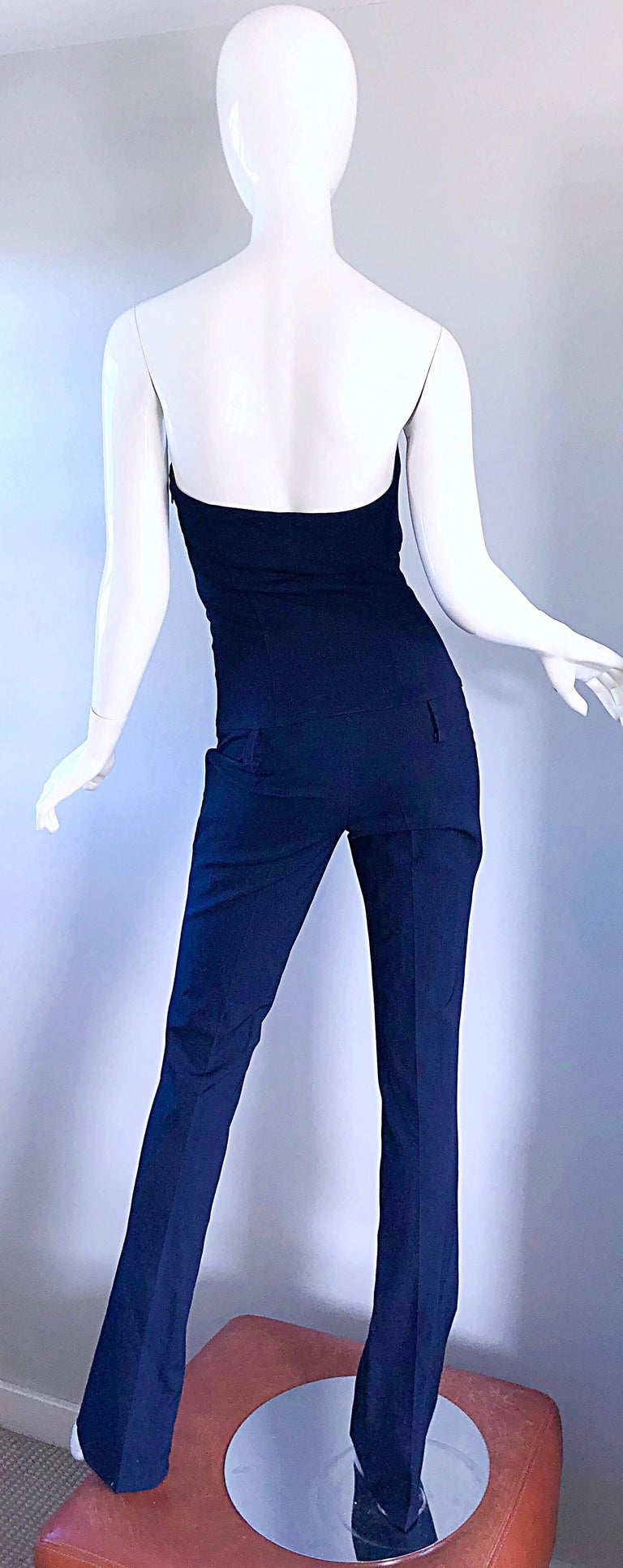 Elisabetta Franchi Navy Blue Italian Strapless Bootcut Tailored Wool Jumpsuit For Sale 1