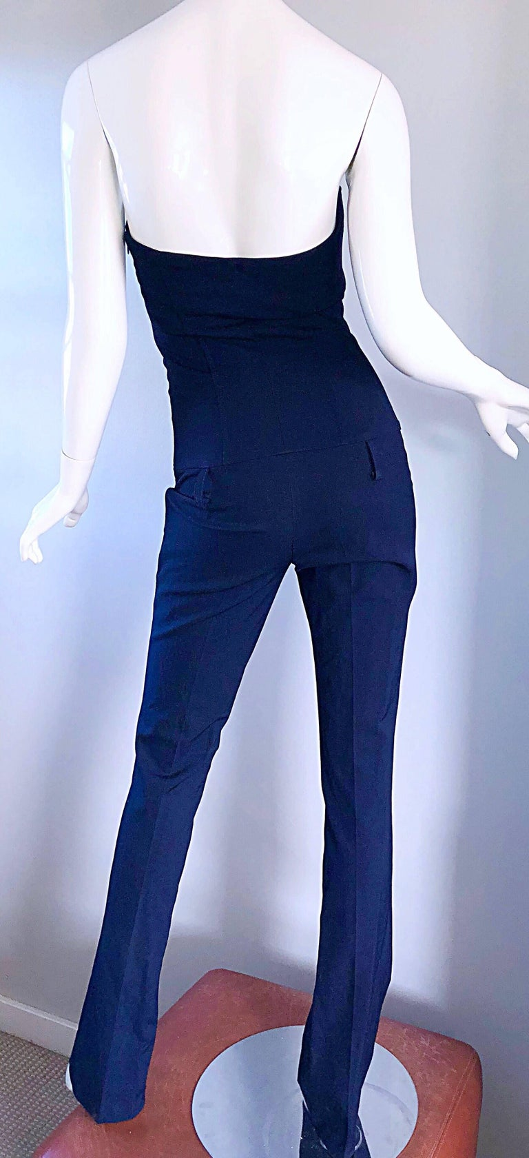 Elisabetta Franchi Navy Blue Italian Strapless Bootcut Tailored Wool Jumpsuit For Sale 2