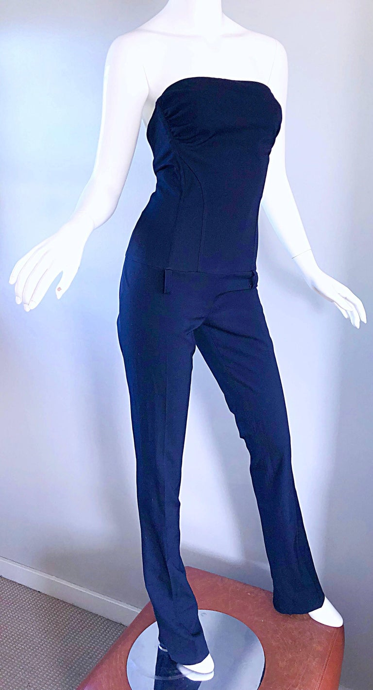 Elisabetta Franchi Navy Blue Italian Strapless Bootcut Tailored Wool Jumpsuit For Sale 3