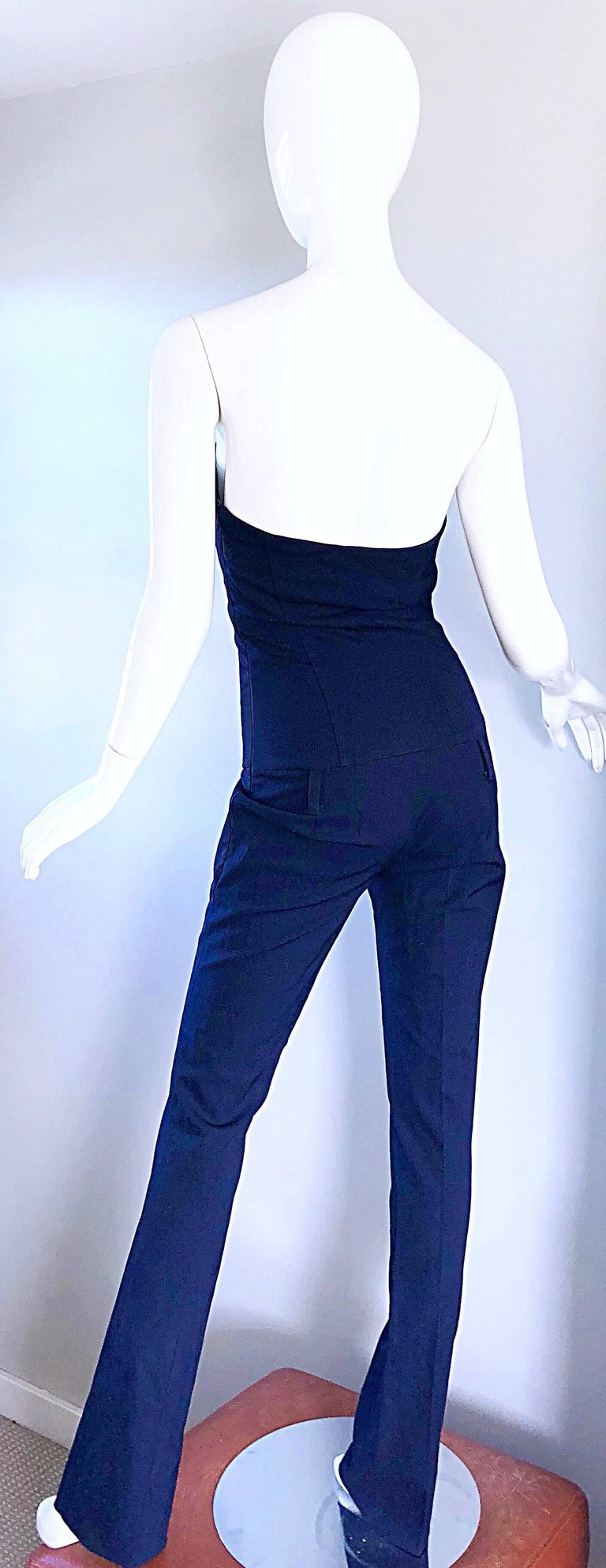 Elisabetta Franchi Navy Blue Italian Strapless Bootcut Tailored Wool Jumpsuit For Sale 4