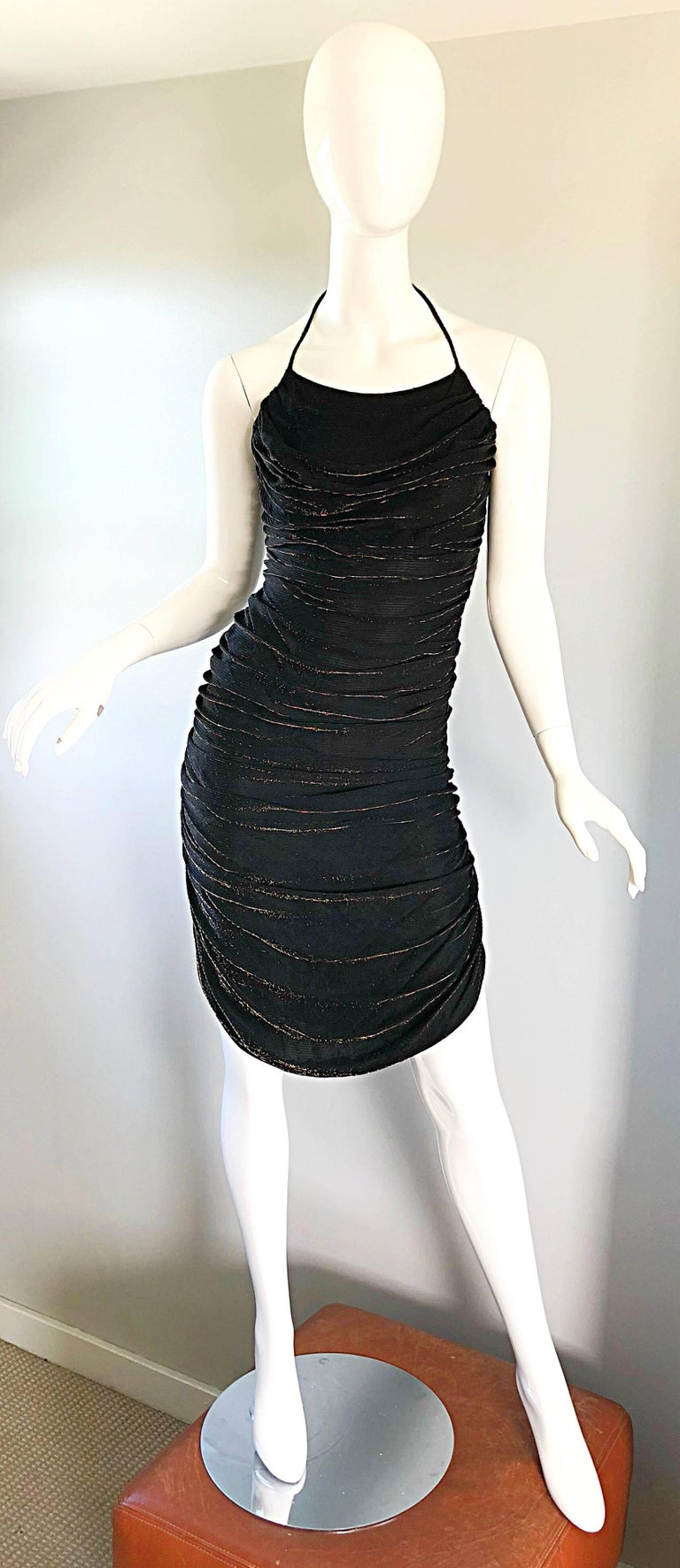 1970s Samir Black + Bronze Gold Sexy Ruched Studio 54 Vintage 70s Disco Dress In Excellent Condition For Sale In Chicago, IL