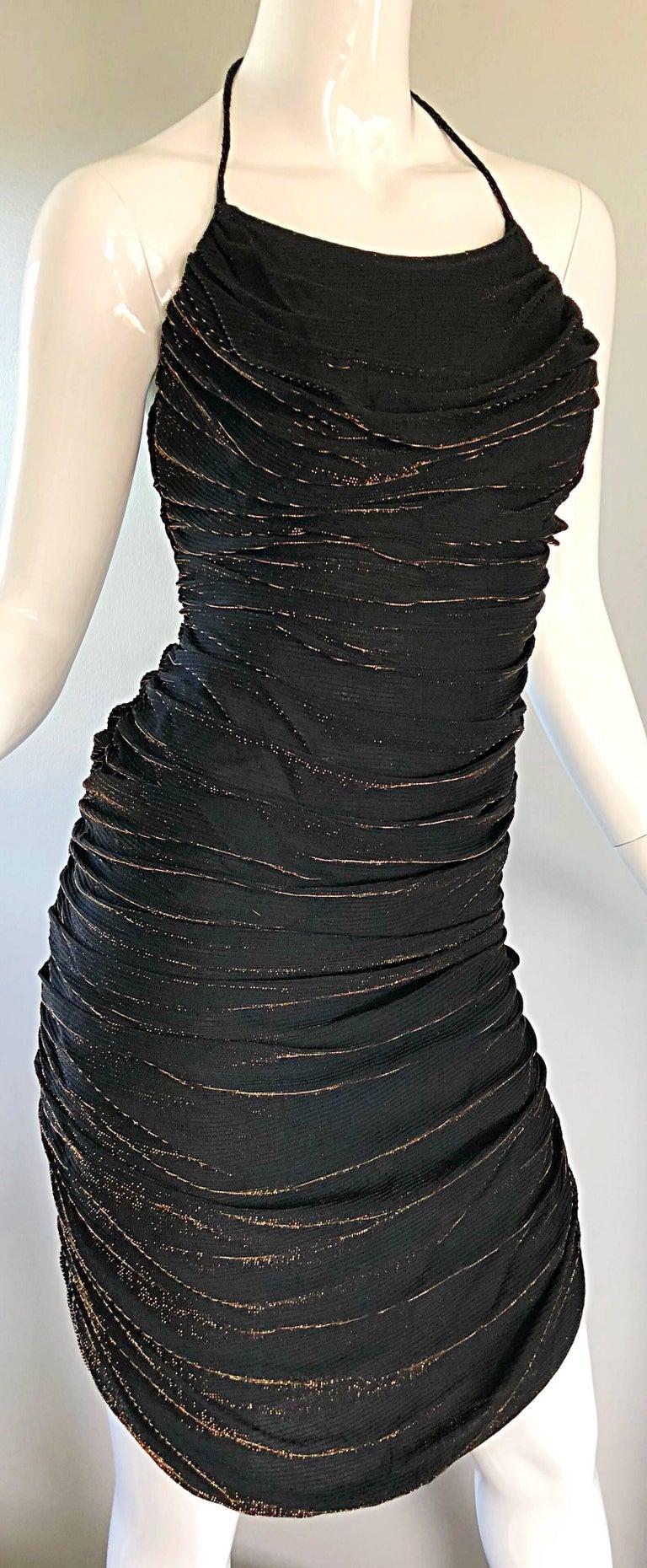 1970s Samir Black + Bronze Gold Sexy Ruched Studio 54 Vintage 70s Disco Dress For Sale 1