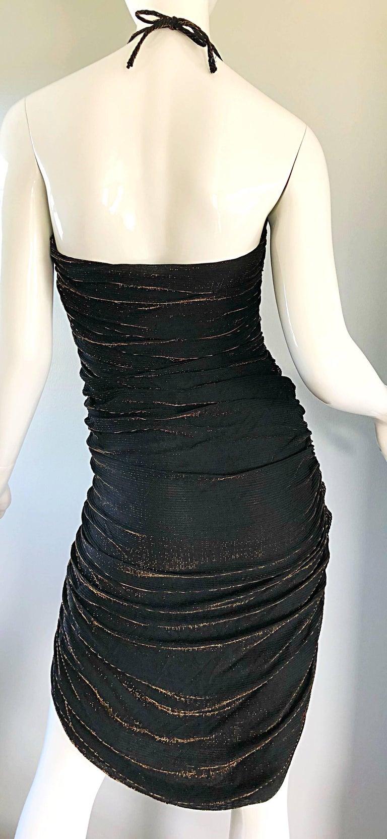 1970s Samir Black + Bronze Gold Sexy Ruched Studio 54 Vintage 70s Disco Dress For Sale 2