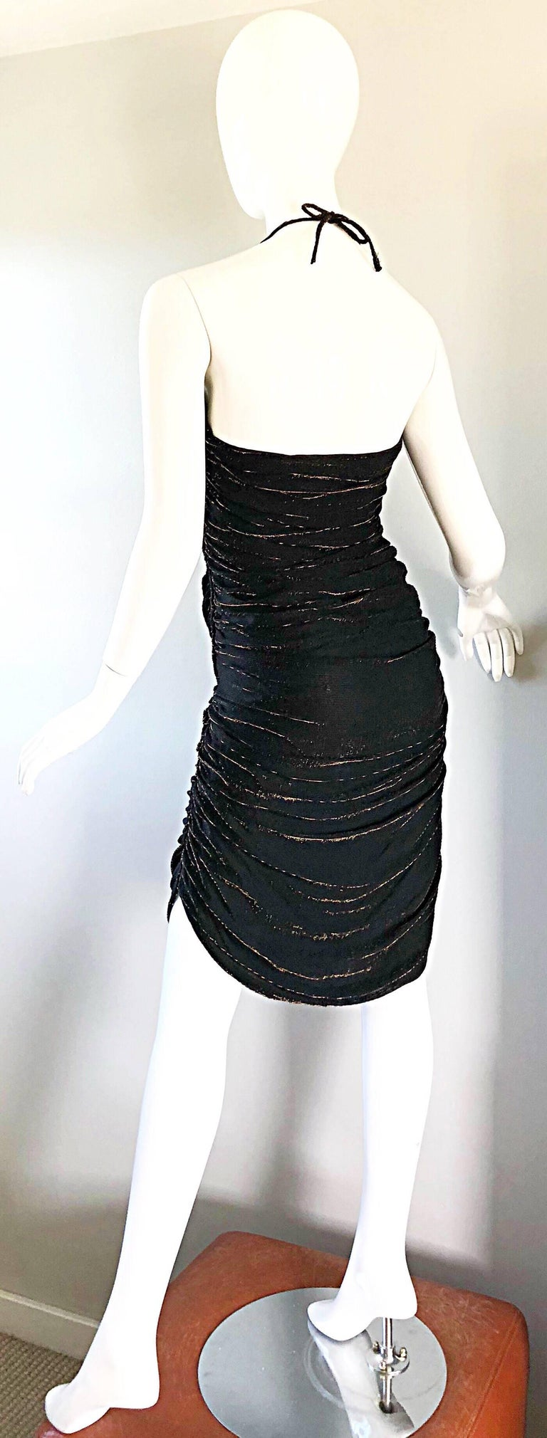 1970s Samir Black + Bronze Gold Sexy Ruched Studio 54 Vintage 70s Disco Dress For Sale 3