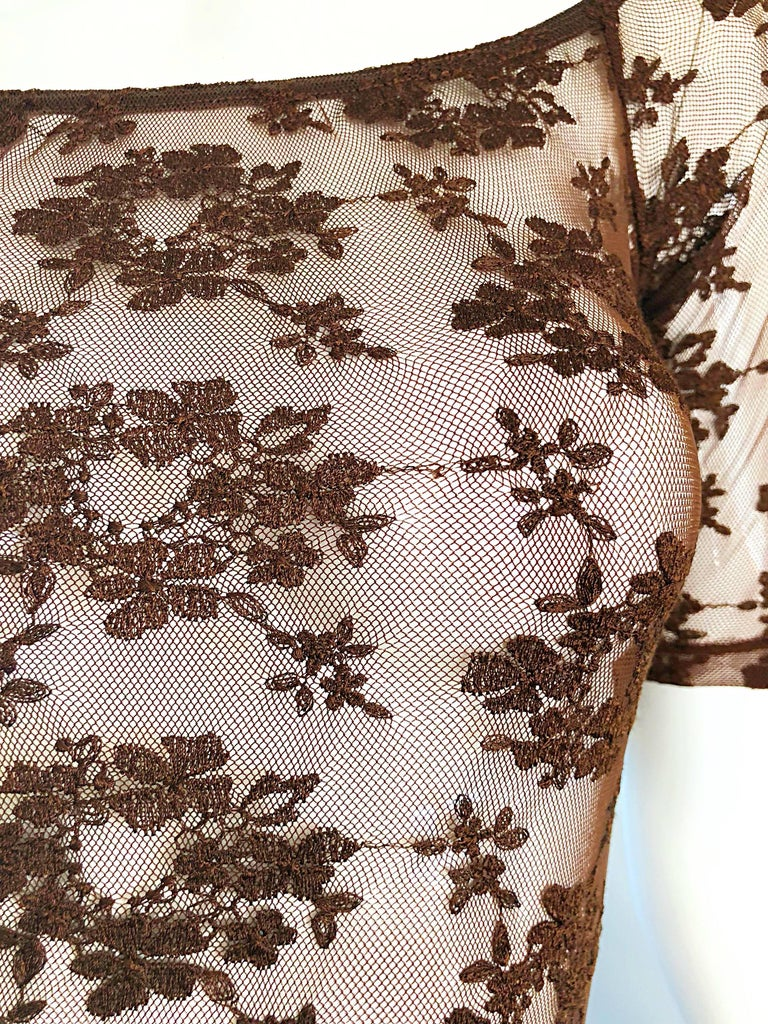 Rare Rifat Ozbek 1990s Choclate Brown French Lace 90s Vintage Bodysuit Top  In Excellent Condition For Sale In Chicago, IL