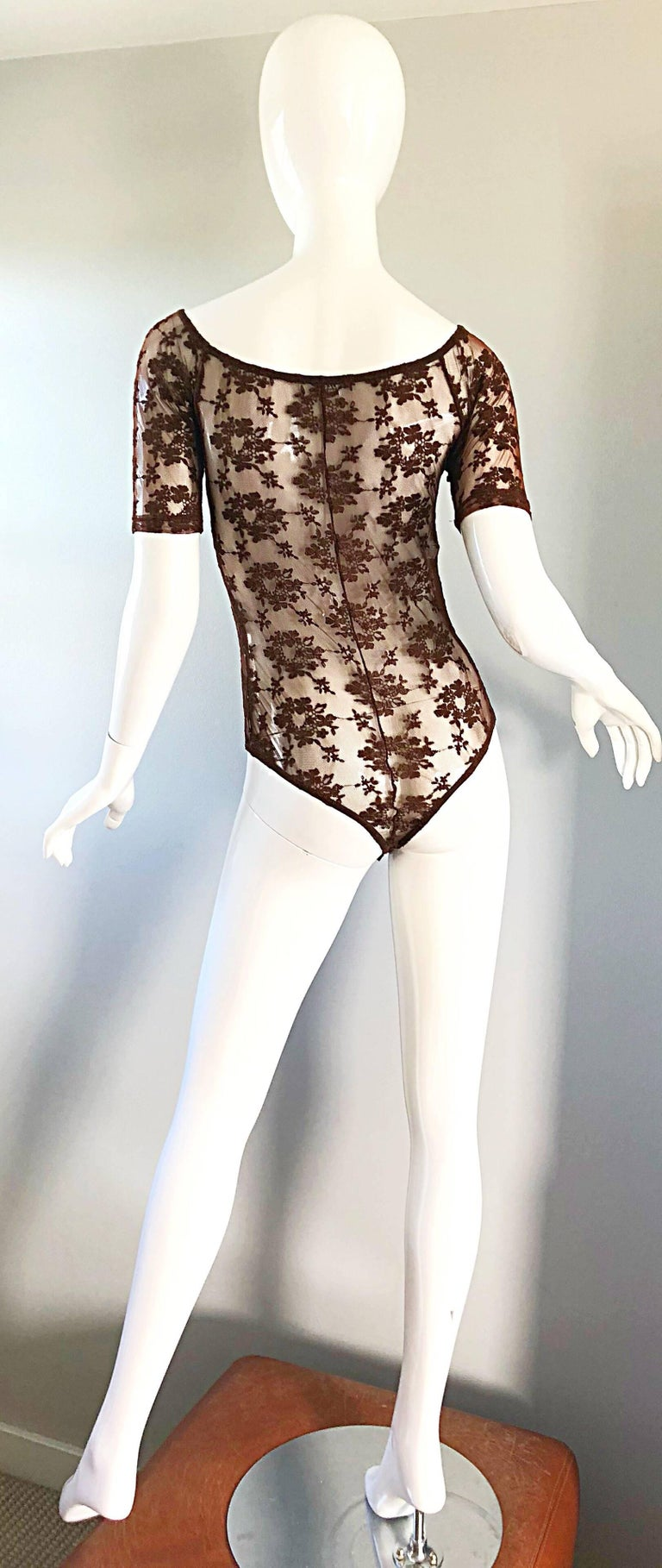 Women's Rare Rifat Ozbek 1990s Choclate Brown French Lace 90s Vintage Bodysuit Top  For Sale