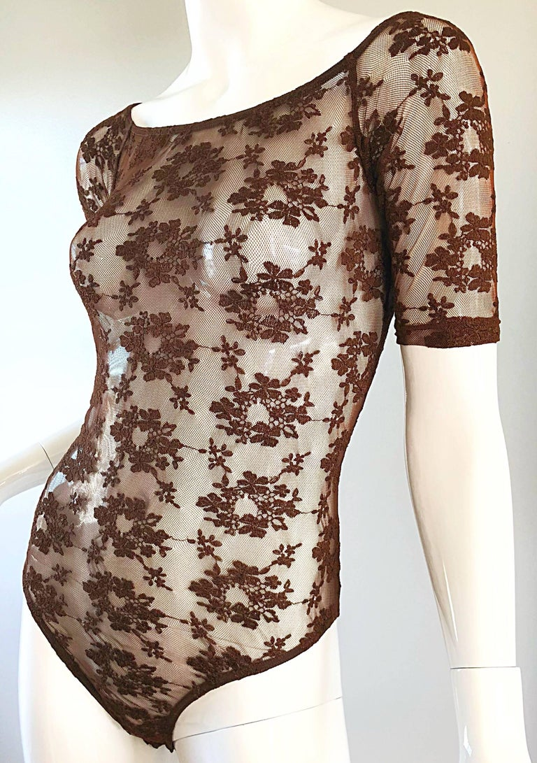 Rare Rifat Ozbek 1990s Choclate Brown French Lace 90s Vintage Bodysuit Top  For Sale 1