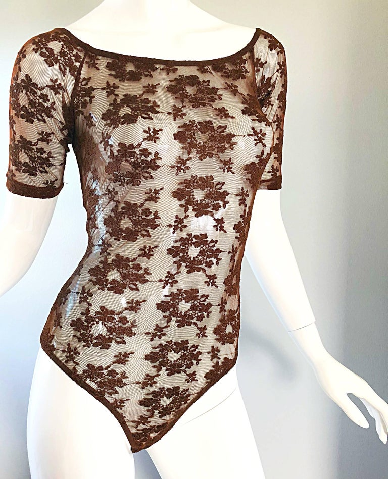 Rare Rifat Ozbek 1990s Choclate Brown French Lace 90s Vintage Bodysuit Top  For Sale 2