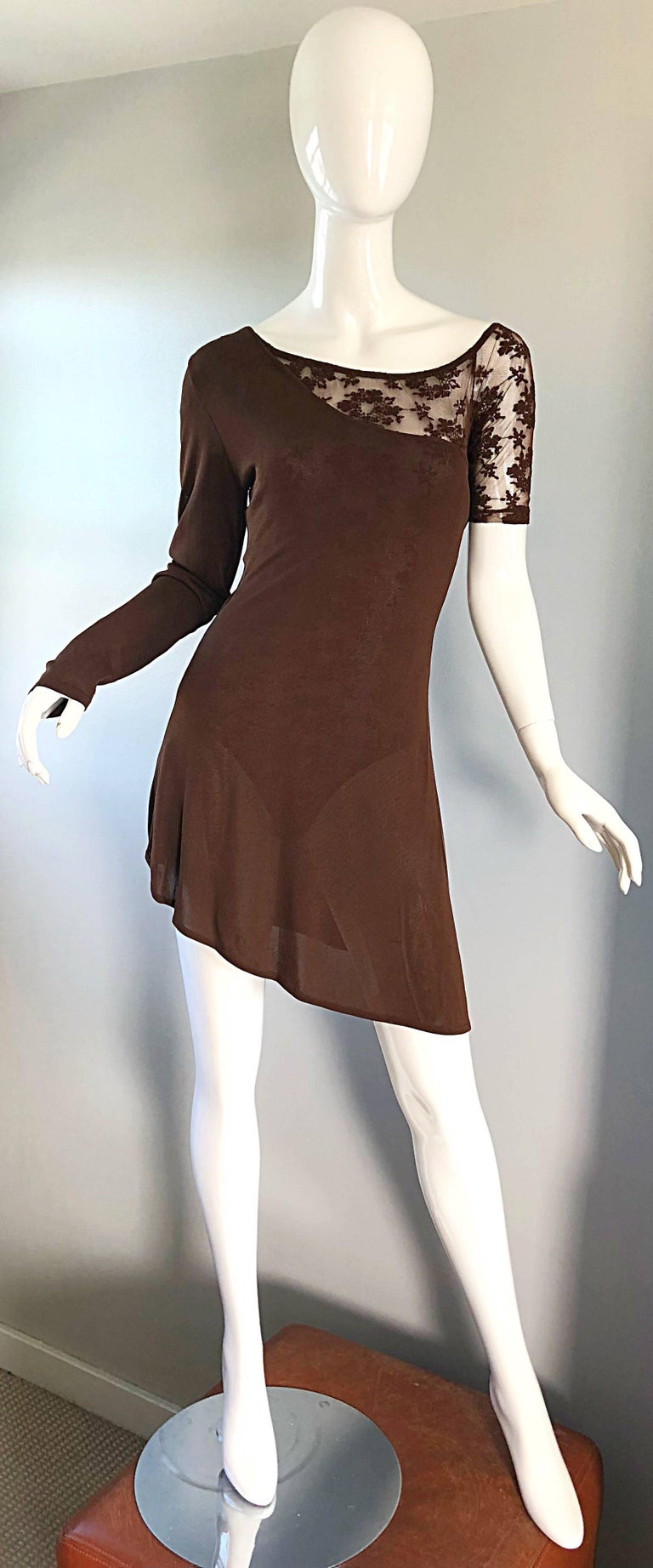 Rare Rifat Ozbek 1990s Choclate Brown French Lace 90s Vintage Bodysuit Top  For Sale 3