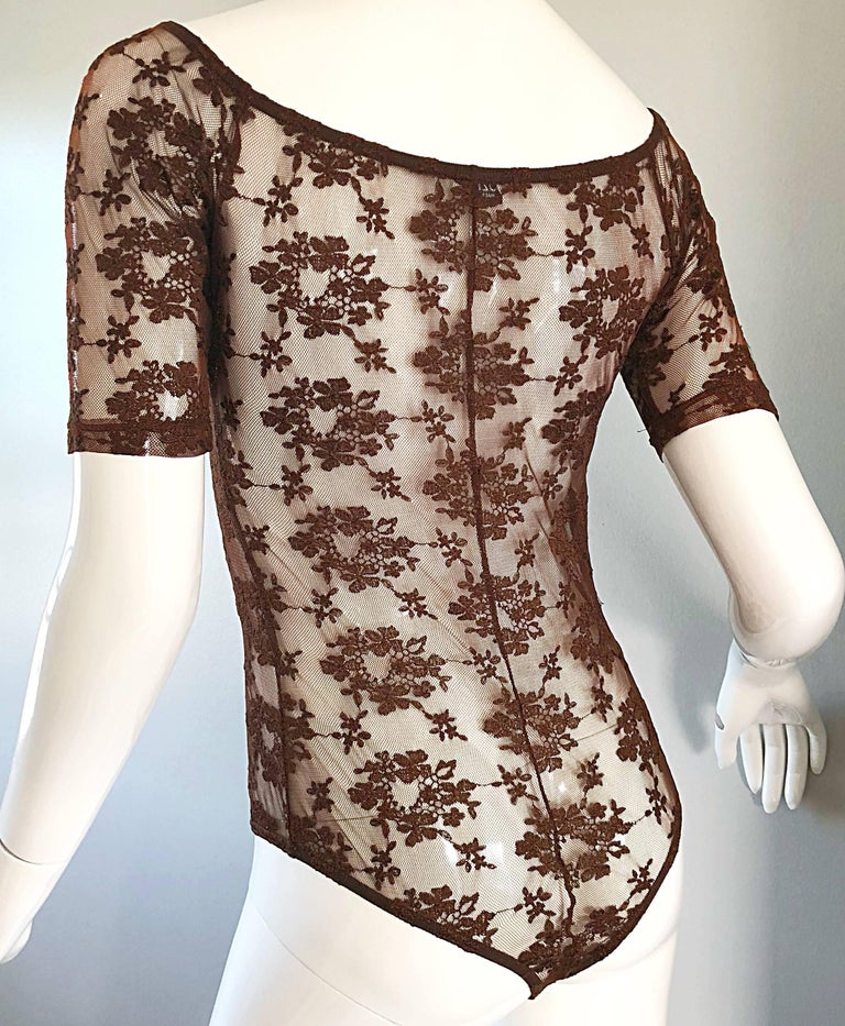 Rare Rifat Ozbek 1990s Choclate Brown French Lace 90s Vintage Bodysuit Top  For Sale 4