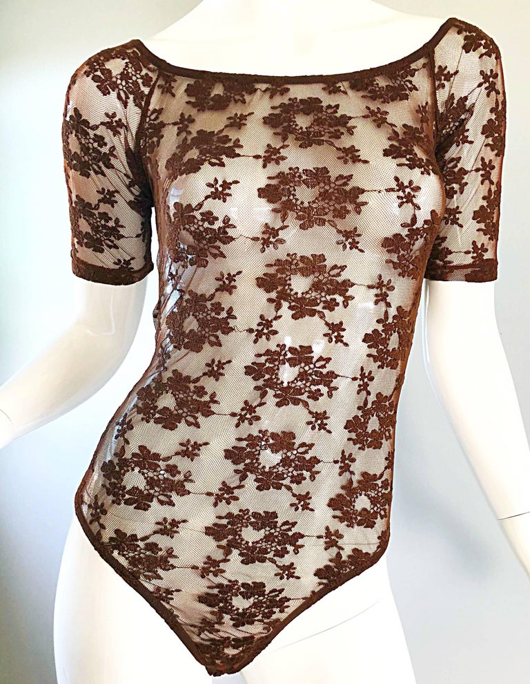 Rare Rifat Ozbek 1990s Choclate Brown French Lace 90s Vintage Bodysuit Top  For Sale 5