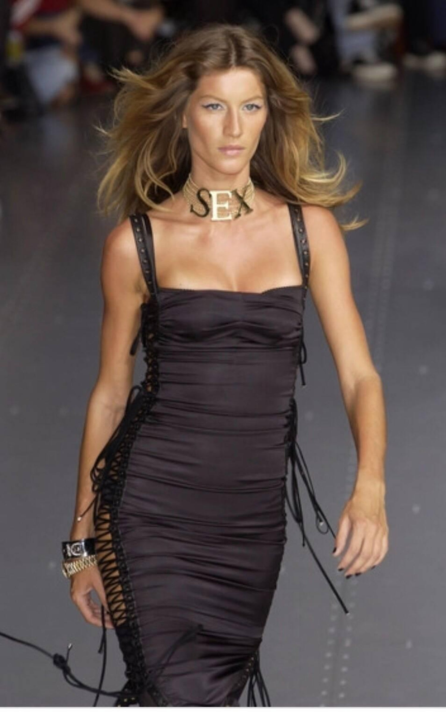 0aa210ef Dolce and Gabbana S/S 2003 Runway Black Silk Corset Trained Lace Up Evening  Gown at 1stdibs