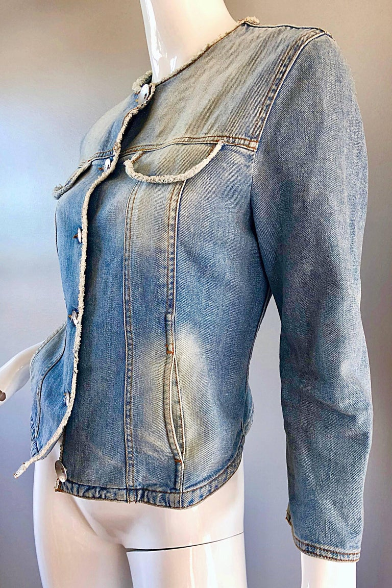 Gray 1990s Krizia Vintage Size 10 Light Blue Jean Denim Glitter Moto Biker Jacket For Sale