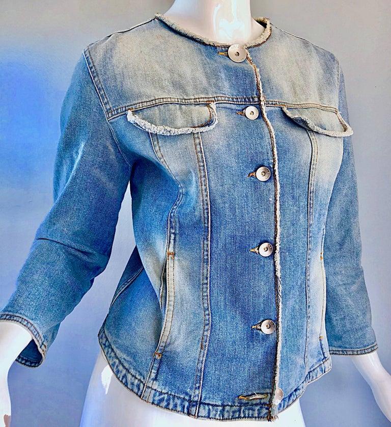 Women's 1990s Krizia Vintage Size 10 Light Blue Jean Denim Glitter Moto Biker Jacket For Sale