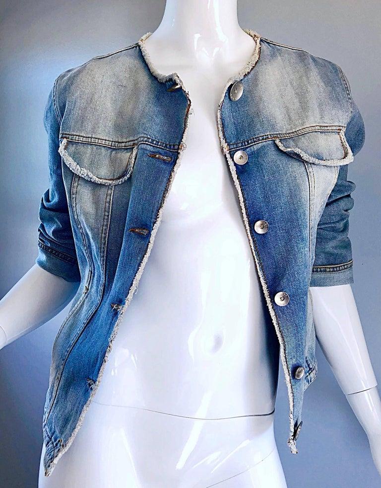 1990s Krizia Vintage Size 10 Light Blue Jean Denim Glitter Moto Biker Jacket For Sale 1