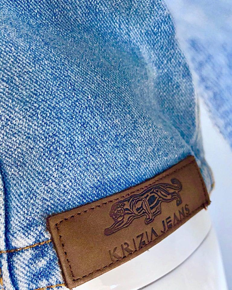 1990s Krizia Vintage Size 10 Light Blue Jean Denim Glitter Moto Biker Jacket For Sale 2