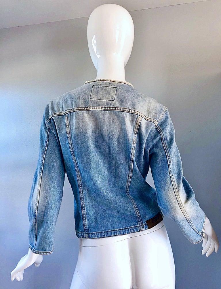 1990s Krizia Vintage Size 10 Light Blue Jean Denim Glitter Moto Biker Jacket For Sale 3
