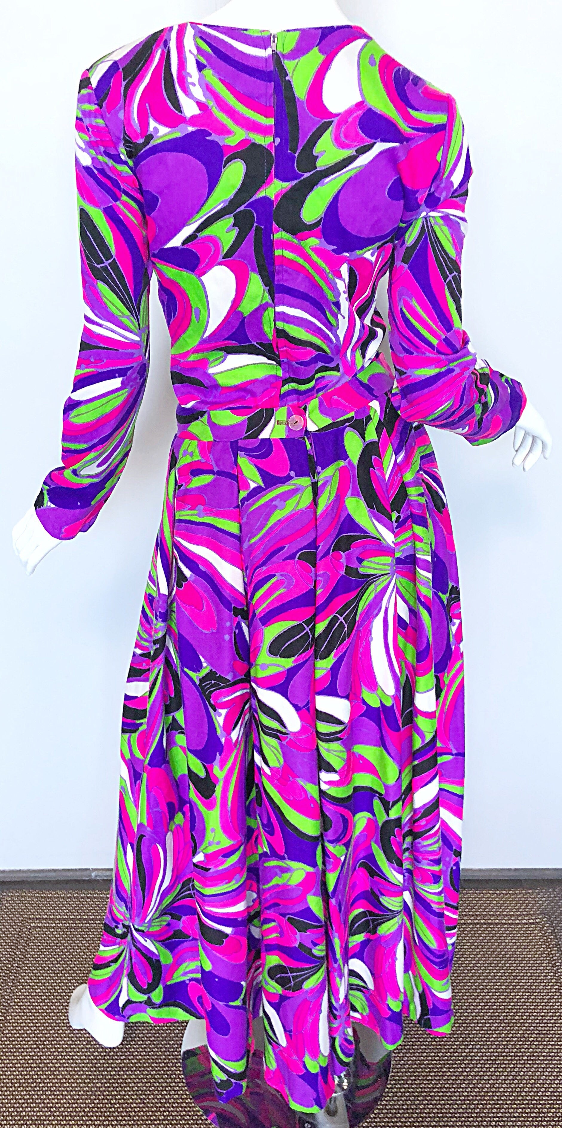 2f9d4147186 Amazing 1970s Bright Colorful Psychedelic Top + Wide Leg Palazzo Cropped  Pants at 1stdibs