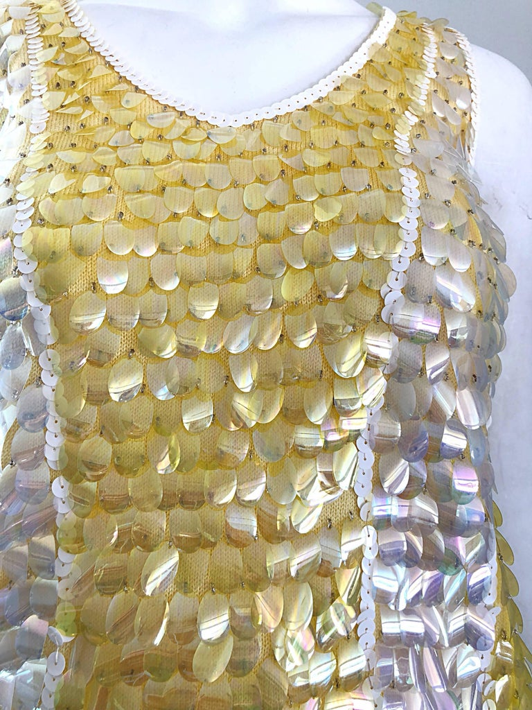 Brown 1960s Yellow + White + Clear Paillettes Sequined Lamb's Wool Sleeveless 60s Top For Sale