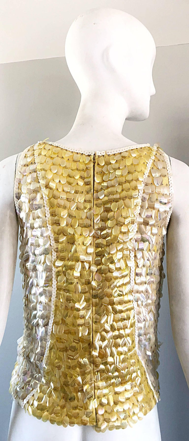 1960s Yellow + White + Clear Paillettes Sequined Lamb's Wool Sleeveless 60s Top In Excellent Condition For Sale In Chicago, IL