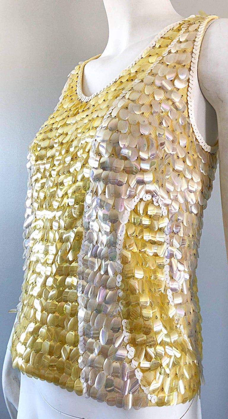 1960s Yellow + White + Clear Paillettes Sequined Lamb's Wool Sleeveless 60s Top For Sale 1