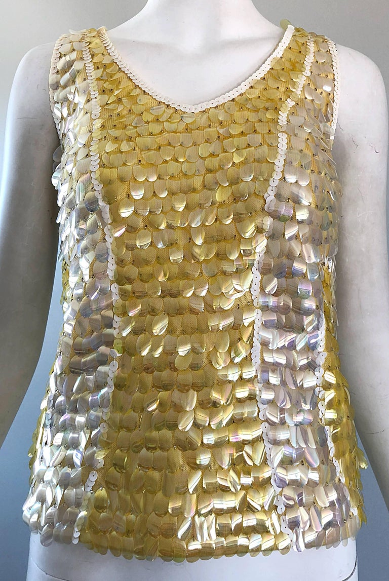 1960s Yellow + White + Clear Paillettes Sequined Lamb's Wool Sleeveless 60s Top For Sale 2