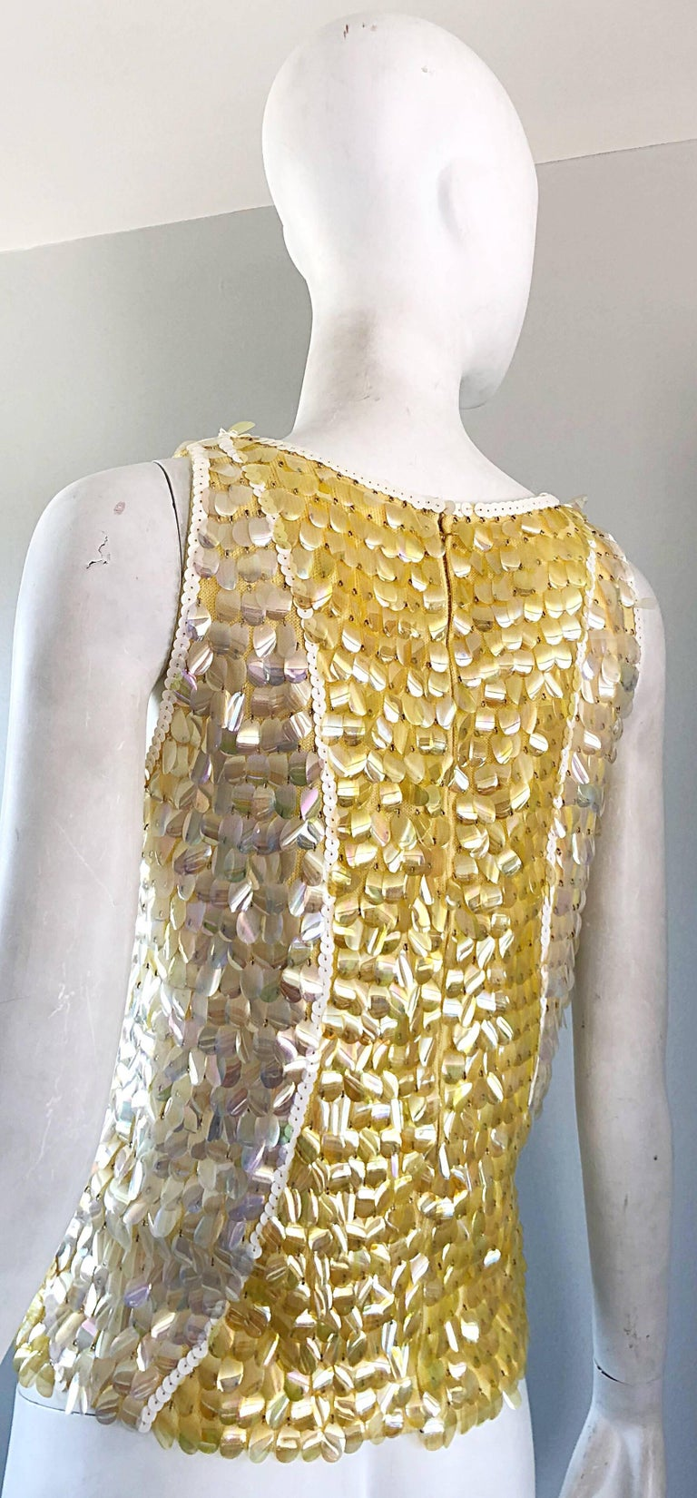 1960s Yellow + White + Clear Paillettes Sequined Lamb's Wool Sleeveless 60s Top For Sale 3