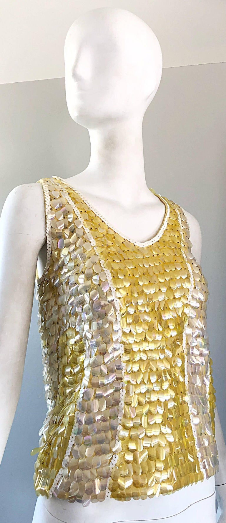 1960s Yellow + White + Clear Paillettes Sequined Lamb's Wool Sleeveless 60s Top For Sale 4